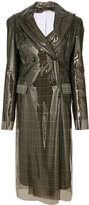 Calvin Klein Double-breasted PVC and plaid wool coat