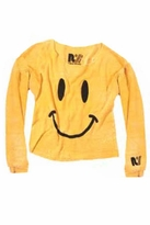 Rebel Yell Have a Nice Day Cut Off Pullover in Gold