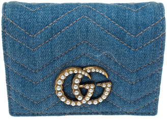 Gucci Blue Marmont GG Denim Limited Edition Pearl Flap Wallet