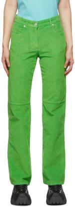 MSGM Green Velvet Ribbed Trousers