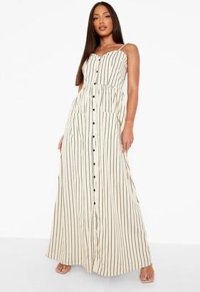 boohoo Tall Stripe Button Up Pocket Maxi Dress