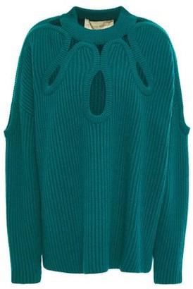 Antonio Berardi Cutout Ribbed Merino Wool And Cashmere-blend Sweater