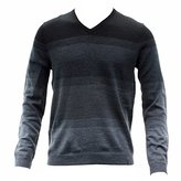 Calvin Klein Men's Merino Acrylic Simple Ombre Striped V-Neck Sweater