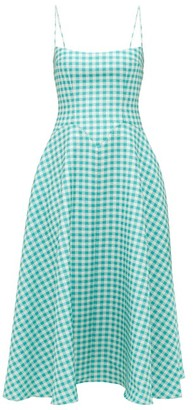 Emilia Wickstead Nisa Fluted Gingham-seersucker Dress - Womens - Green White