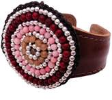 Nakamol Multi Beaded Leather Cuff Bracelet in Pink