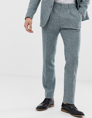 ASOS DESIGN slim Harris Tweed suit pants in teal and white houndstooth