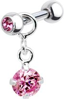 Body Candy Silver 925 Pink Dangle Cartilage Earring