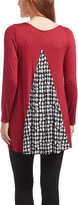 Glam Burgundy & Black Houndstooth-Accent Back-Panel Maternity Tunic