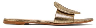 Gianvito Rossi Rounded Buckle Metallic Leather Slides - Womens - Gold