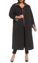 Gallery Plus Size Women's Long Raincoat With Detachable Hood & Liner