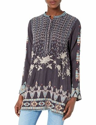 Johnny Was Women's Long Sleeve Tunic with Contrast Embroidery