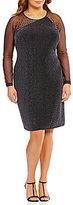 Calvin Klein Plus Illusion Long Sleeve Novelty Jersey Dress
