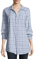 Frank And Eileen Shirley Long-Sleeve Plaid Blouse, Gray/White