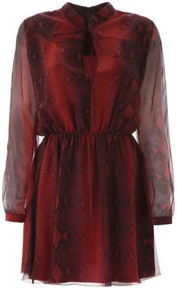Amiri Snakeskin Print Flared Dress