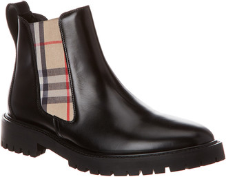 Burberry Vintage Check Detail Leather Chelsea Bootie