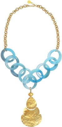 Devon Leigh Resin-Link Hammered Pendant Necklace