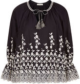 Ulla Johnson Coal Floral Embroidered Sonya Blouse