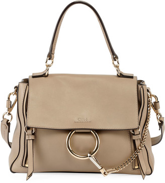 Chloé Faye Day Small Pebbled Ring Shoulder Bag