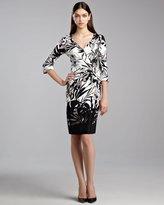 St. John Botanical Floral-Print Wrap Dress, Caviar/White