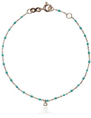 Gigi Clozeau 18k Rose Gold Turquoise Beaded Single Diamond Bracelet