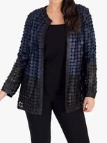 Chesca chesca Colour Block Disc Leather Jacket, Navy/Black