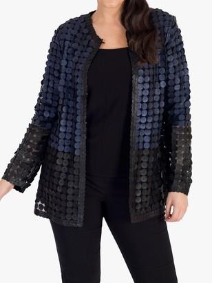 Chesca Colour Block Disc Leather Jacket, Navy/Black