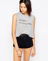 The Laundry Room Sorry Running Latte Cropped Tank Top