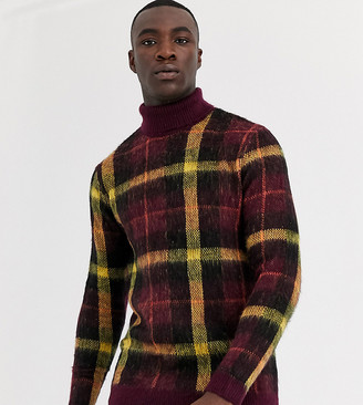 ASOS DESIGN Tall knitted jumper with roll neck in burgundy check