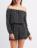 Charlotte Russe Striped Off-The-Shoulder Romper