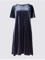Twiggy Velvet Short Sleeve Shift Midi Dress