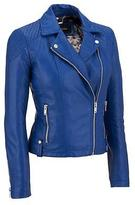 Black Rivet Womens Faux-Leather Cycle Jacket W/ Quilted Shoulders
