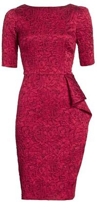 Teri Jon by Rickie Freeman Jacquard Floral Elbow-Sleeve Sheath Dress