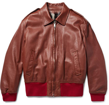 Calvin Klein Shearling-Lined Leather Jacket