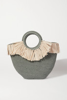 Mizele - Sun Mini Leather And Faux Raffia-trimmed Crocheted Cotton Tote - Teal