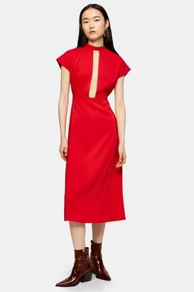 Topshop Red Plunge Tie Neck Midi Dress