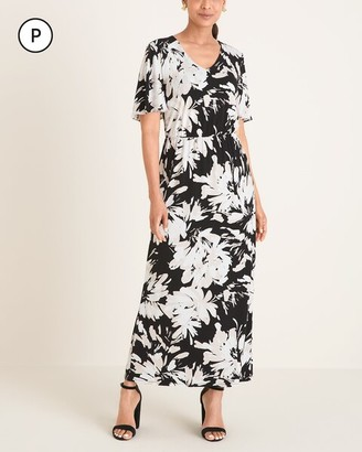 Chico's Petite Floral Flutter-Sleeve Maxi Dress