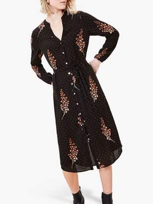 Oasis Leaf Print Dress, Black/Multi