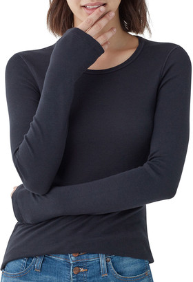 Splendid 1X1 Classic Long-Sleeve Crewneck Top