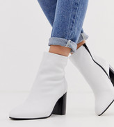 Asos DESIGN Wide FIt Rescue leather block heel boots in white