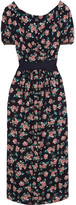 Mother of Pearl Zoe Open-back Floral-print Silk Midi Dress - Black