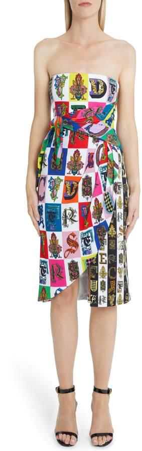 Versace First Line Alphabet Print Strapless Sheath Dress