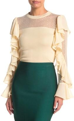 Gracia Polka Dot Mesh Ruffle Sleeve Shirt