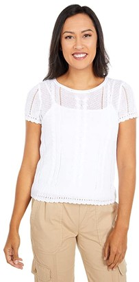 Lauren Ralph Lauren Petite Cable Knit Linen Blend Sweater (White) Women's Clothing