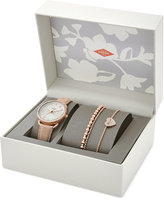 Fossil Women's Tailor Blush Leather Strap Watch and Bracelets Boxed Set 35mm ES4021SET