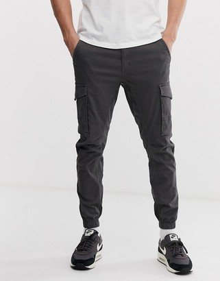 Jack and Jones Intelligence cuffed cargo pants in gray