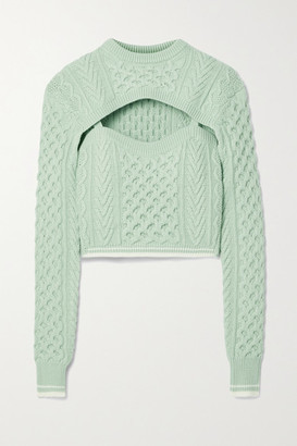 Rosie Assoulin Thousand In One Ways Convertible Cropped Cable-knit Wool And Cotton-blend Sweater - Mint