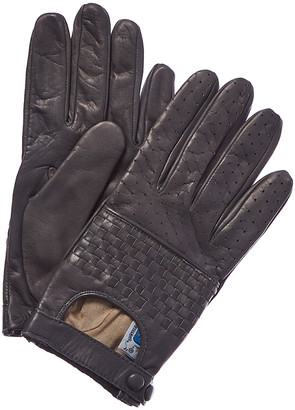 Portolano Women's Grey Silk-Lined Leather Gloves
