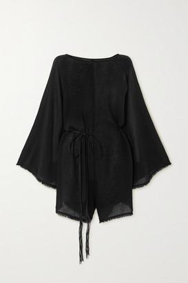 CARAVANA Net Sustain Nikab Suede-trimmed Fringed Cotton-gauze Jumpsuit - Black