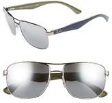 Ray-Ban Men's 57Mm Aviator Sunglasses - Gun Blue