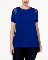 INC International Concepts Plus Size Mesh-Inset T-Shirt, Only at Macy's
